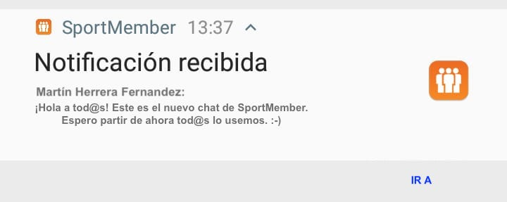 Notificación chat